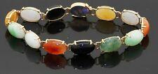 14K yellow gold elegant high fashion 11.75 x 8mm Rainbow jade bracelet