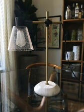 Never Used West Elm Factory Task Seeded Glass Table Lamp, Black + Brass + Marble