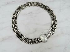 Mexico Sterling Silver Oval MOP Heavy Double Curb Chain Bib Necklace 114.7g