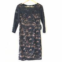 Adrianna Papell Black Lace Nude Lined 3/4 Sleeve Sheath Dress Size 4