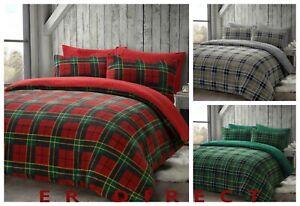 Luxury Tartan Check Teddy Duvet Cover Quilt Set Soft & Cosy Bedding Pillowcases