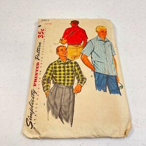 vtg sewing pattern mens sport shirt simplicity large 1407 long sleeves