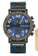 BOBO BIRD Wood & Steel Chronograph Watch Man Women Edelholz & Stahl Uhr NDSS265