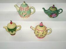 4 Mary Engelbreit Mini Teapot Ornaments