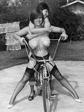 1960s Nude Very Large breasted Models on a Hawk Bicycle 8 x 10 Photograph