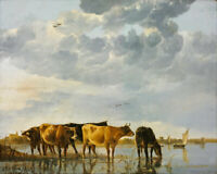 Oil painting Albert Koop pasture cattle cows by the river hand painted on canvas