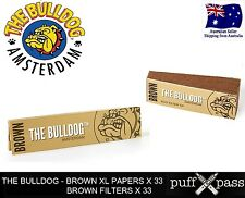 THE BULLDOG BROWN - PURE HEMP ROLLING PAPERS [107mm x 44mm] x 2 AND FILTERS x 2
