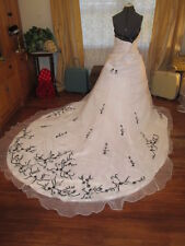 NWT Black & White Victorian renaissance Plus Sz Wedding Dress Organza satin 20W