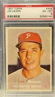 1957 Topps #348 - Jim Hearn - PSA 6 (EX-MT) - Set Break - Philadelphia Phillies
