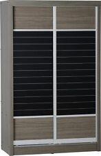 Grey / Black 2 Door 2 Drawer Sliding Wardrobe W117cm X D56cm X H187cm LACEY