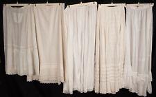 ANTIQUE 1890 - 1900 FINE WHITE COTTON PETTICOATS LOT OF 5