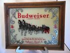 Vintage Budweiser Beer Clydesdale Reverse Painted Glass Beer Advertising Sign