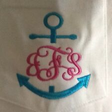 MONOGRAMMED ANCHOR Tee Long Sleeve Pocket T-SHIRT S-XL  100% Cotton