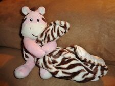 Blanket ZEBRA Pink Brown Baby Starters Security Lovey Rattle Snuggle Buddy Plush