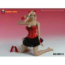 SUPER DUCK 1:6 RED CORSET DRESS & SHOE SET C007 C 1/6 LINGERIE OUTFIT DRESS