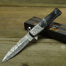 TAC FORCE Speedster Assisted Damascus Acid Etched Stiletto Knife Black New!