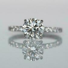 1.55 CT Round Cut Solitaire Halo Engagement Wedding Ring 14kt White Gold  Over