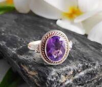 925 Silver 10x8 MM Amethyst Natural Gemstone Ring Sterling Handmade Rings
