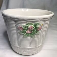 Bassano Planter Vase Ivory weave basket with strawberries, Pottery~Italy~