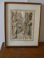 un gravure de Montpellier rue du l'ancien coumier