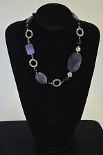 Purple Agate with Silver tone Loops Necklace
