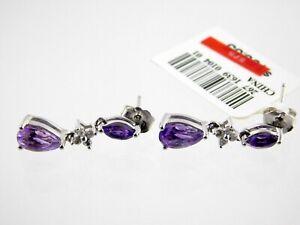 Sterling Silver Genuine Amethyst Lab White Sapphire Pierced Earrings 925 MSRP$75