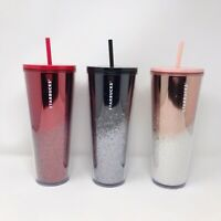 Starbucks Holiday 2019 Limited Edition Cascading Glitter Tumblers 24oz Lot of 3
