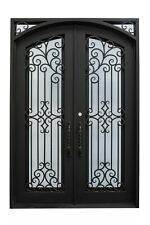 "Hidalgo Double Front Entry Wrought Iron Door Aqua Glass 72"" x 96"" Right Active"