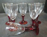 """Ruby Red Stem Set of 6 Cordial Goblets 4"""" Tall"""