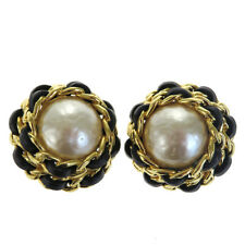 Auth CHANEL CC Earrings Imitation Pearl Leather Gold-tone Clip-On 26 05BD702