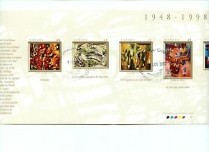 The Automatistes Souvenir card with 7 stamps used Canada