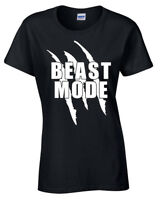 Beast Mode Womens T Shirt Gym Weights Lifting Training Fitness Bodybuilding Top