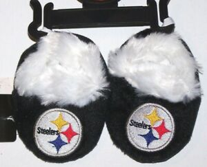 Nwt New Pittsburgh Steelers Football NFL Logo Slippers Booties Faux Fur Baby
