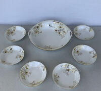 Hand Painted Antique Nippon Dessert Set White And Gold. Japan