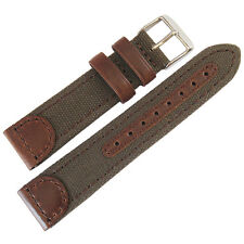 18mm Hadley-Roma MS868 Mens Brown Canvas and Leather Watch Band Strap