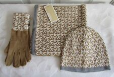 Michael Kors Womens Signature Scarf Hat Gloves Set Beanie Camel White MK NWT