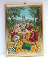 Old Vintage Ravi Varma Press Print Shiva Family with Frame Collectible J39