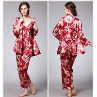 Women's Pajamas Vintage Floral Silk Satin Bathrobe Nightdress Set Nightgown 3pcs