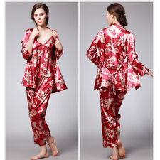 New Womens Pajamas Print Silk Satin Bathrobe Nightdress Set Nightgown 3pcs