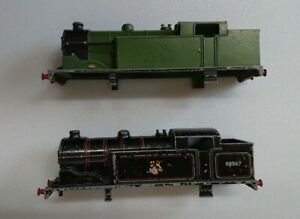 2X Vintage Hornby Dublo Type EDL17 cast metal locomotive bodies black and green