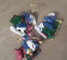 Smurfs Schleich 4 Christmas: present,  tree & smurf Santa - very good condition