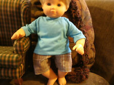 bitty baby boy brown and aqua striped  shorts w aqua tee 1013