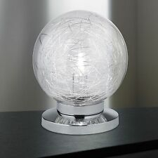 Noble Wofi Lampe de table verre 1-FLG CHROME boule 20 cm Interrupteur LUMINAIRE