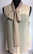 Bcbg Paris Women's Size Small Sleeveless Tie Top Shirt Blouse Msrp $128.00