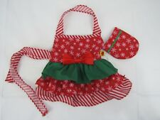 Build A Bear Christmas Apron and Matching Oven Mitt Red Green with Bow