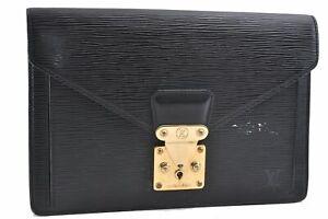Authentic Louis Vuitton Epi Sellier Dragonne Clutch Bag Black M52612 LV D5123