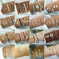 Charm Women Jewelry Set Rope Natural Stone Crystal Chain Alloy Bracelets Gift Q8