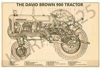 (A3) David Brown Case Poster Brochure Tractor 900 Cut Through Diagram