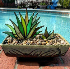 Artificial Agave Aloe Plant Potted Stained Glass Decor, Colorful Fake Grass US