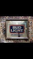 Vintage Framed Budweiser Bud Light Mirror Man Cave Bar VTG 1980's